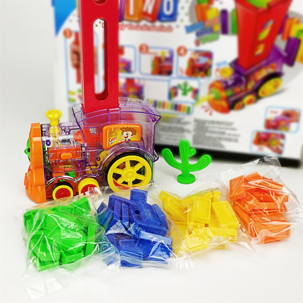 blocks-track-toys Electric Domino Train Kit Motorized Train Model with Light and Sound 80Pcs Colorful Domino Stacking Model Building Blocks Set for Children HOB1639610 3