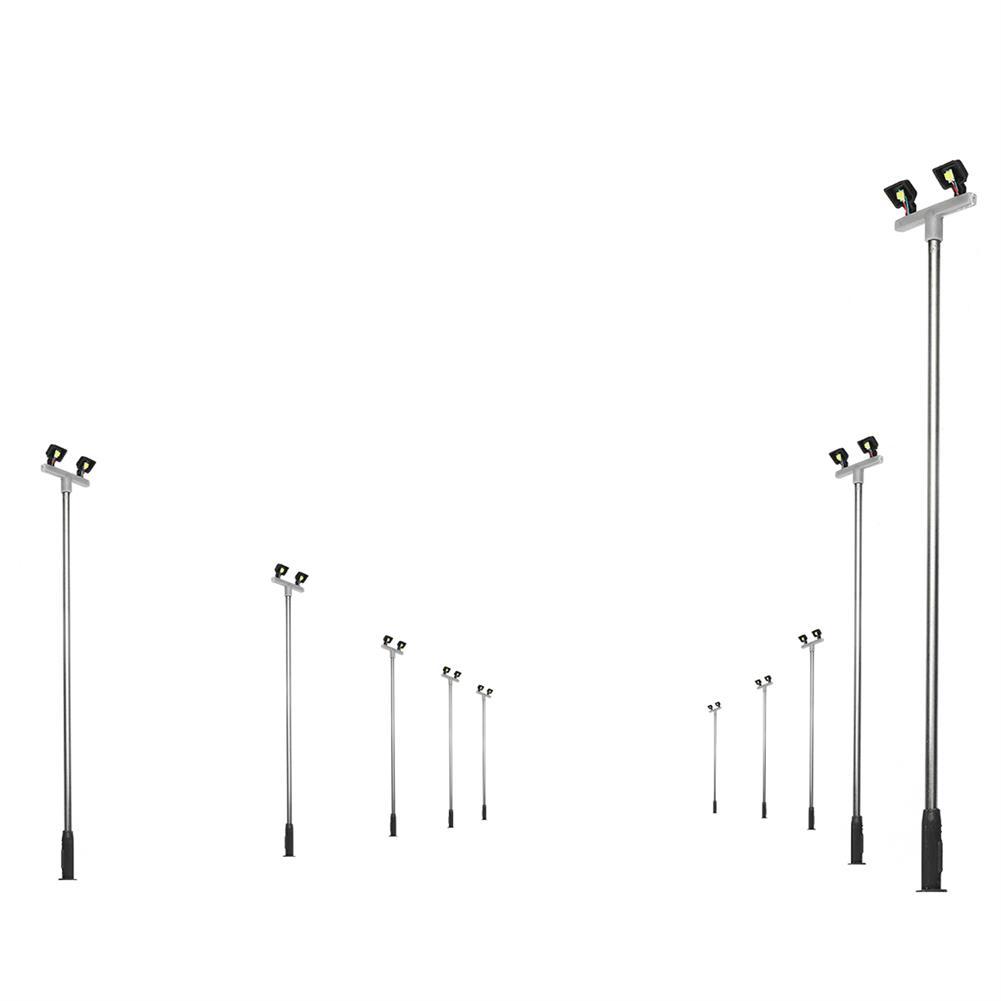model-building 10Pcs/Set 3V Model Railway Train HO Scale Lamps Post 1:100 Street Light Dual Heads HOB1642750 1