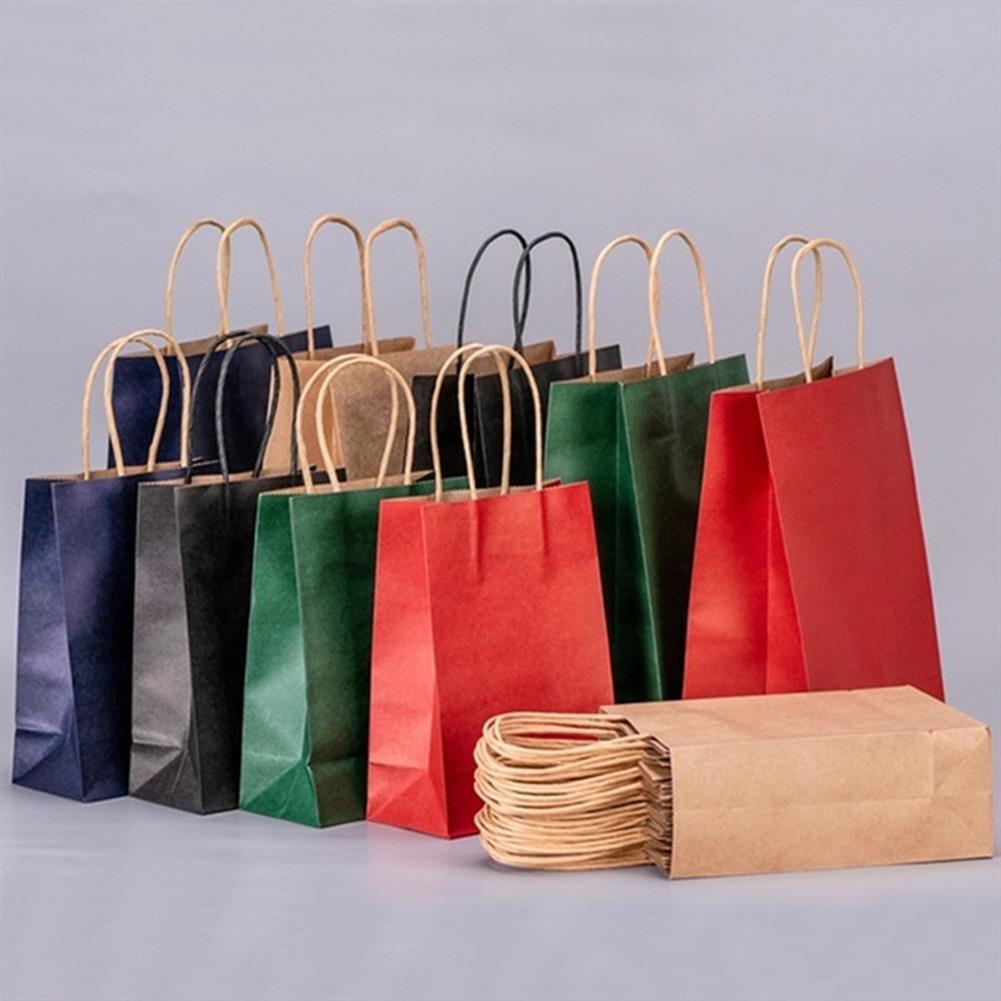 paper-art-drawing 25Pcs Shopping Gift Paper Party Bags W/ Handles Birthday Loot Bag 6.3x8.7x3.2 HOB1658703 1