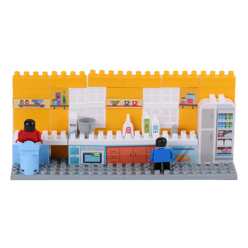 blocks-track-toys Goldkids HJ-35005A 80PCS Kitchen Series Pentagram Bucket DIY Assembly Blocks Toys for Children Gift HOB1664677