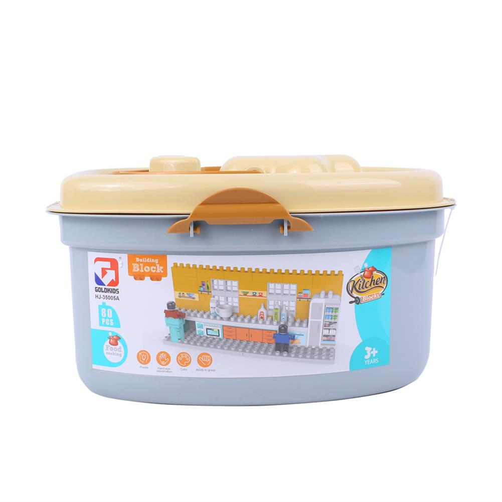 blocks-track-toys Goldkids HJ-35005A 80PCS Kitchen Series Pentagram Bucket DIY Assembly Blocks Toys for Children Gift HOB1664677 2