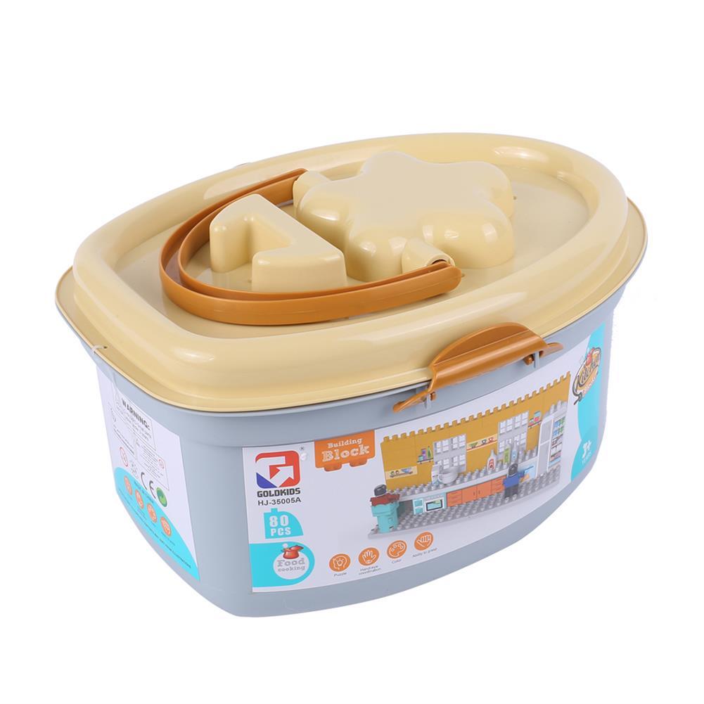 blocks-track-toys Goldkids HJ-35005A 80PCS Kitchen Series Pentagram Bucket DIY Assembly Blocks Toys for Children Gift HOB1664677 3