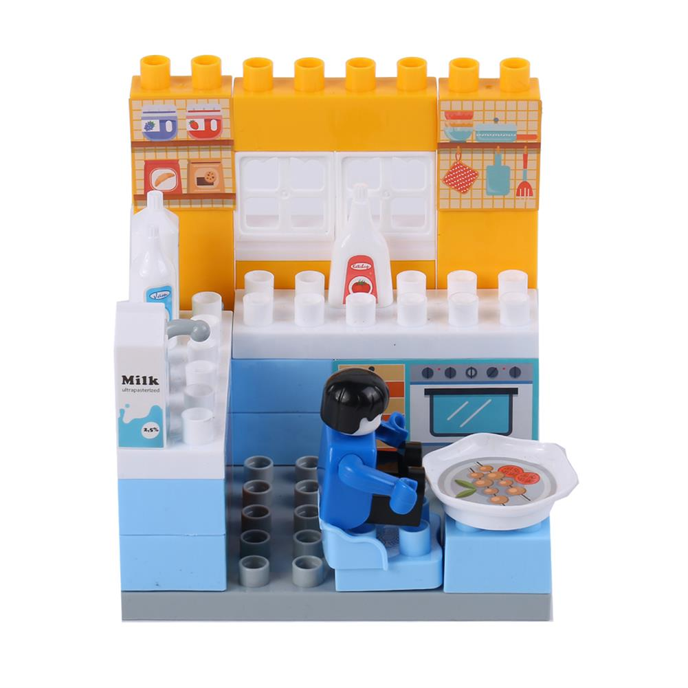 blocks-track-toys Goldkids HJ-35001A 31PCS Kitchen Series Clock Bucket DIY Assembly Blocks Toys for Children Gift HOB1664682