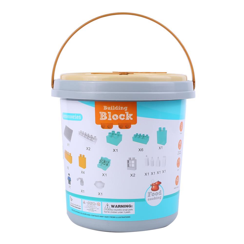 blocks-track-toys Goldkids HJ-35001A 31PCS Kitchen Series Clock Bucket DIY Assembly Blocks Toys for Children Gift HOB1664682 3