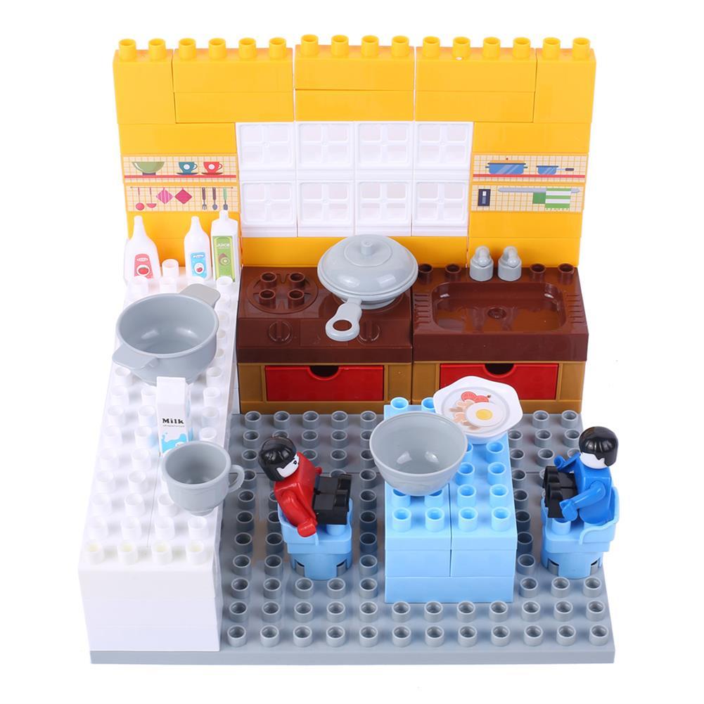 blocks-track-toys Goldkids HJ-35006A 87PCS Kitchen Series Rectangular Small Bucket DIY Assembly Blocks Toys for Children Gift HOB1664715