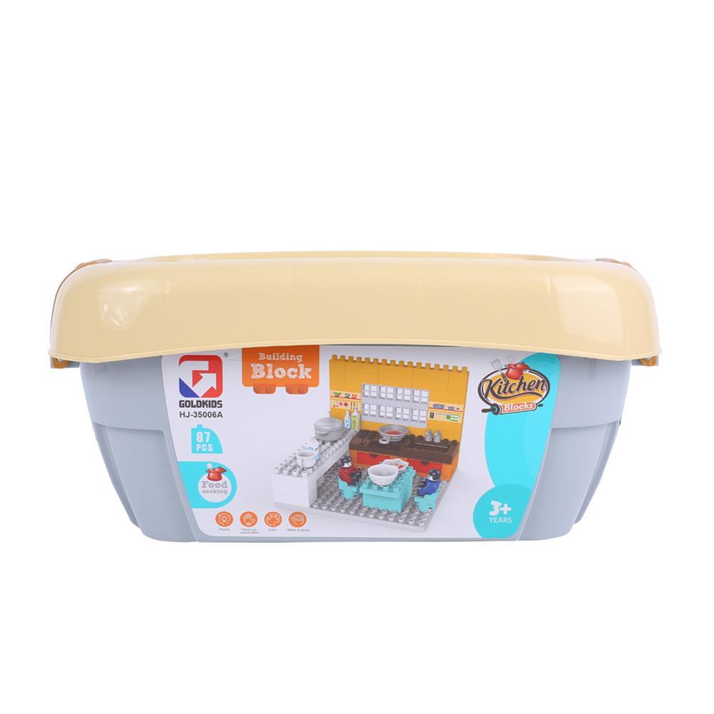 blocks-track-toys Goldkids HJ-35006A 87PCS Kitchen Series Rectangular Small Bucket DIY Assembly Blocks Toys for Children Gift HOB1664715 2