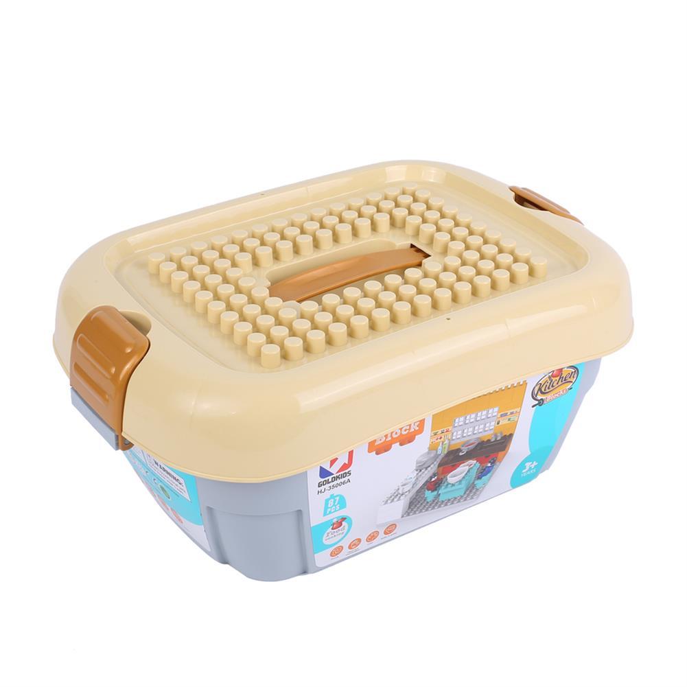 blocks-track-toys Goldkids HJ-35006A 87PCS Kitchen Series Rectangular Small Bucket DIY Assembly Blocks Toys for Children Gift HOB1664715 3