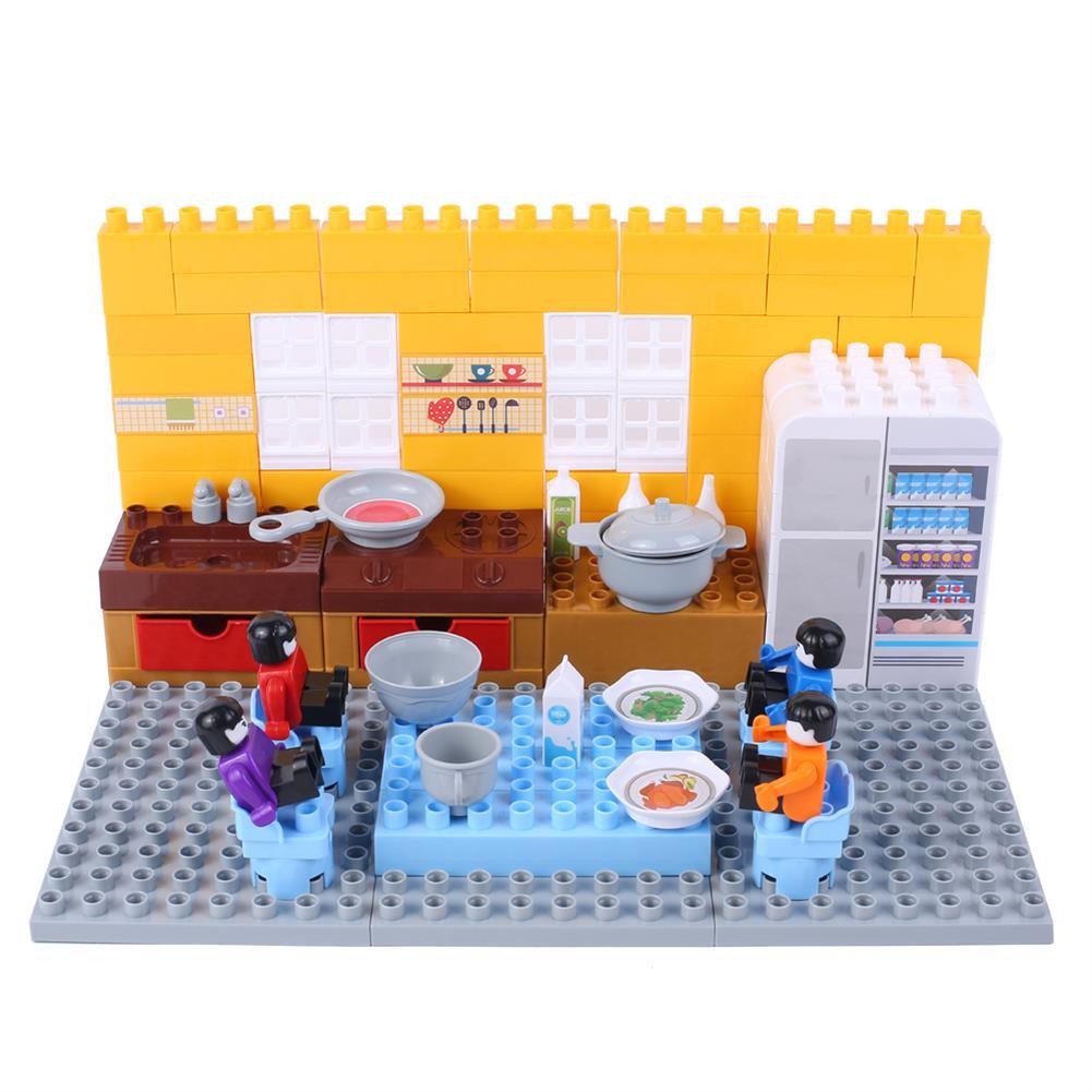 blocks-track-toys Goldkids HJ-35008A 124PCS Kitchen Series Rectangular Tote Bucket DIY Assembly Blocks Toys for Children Gift HOB1664716