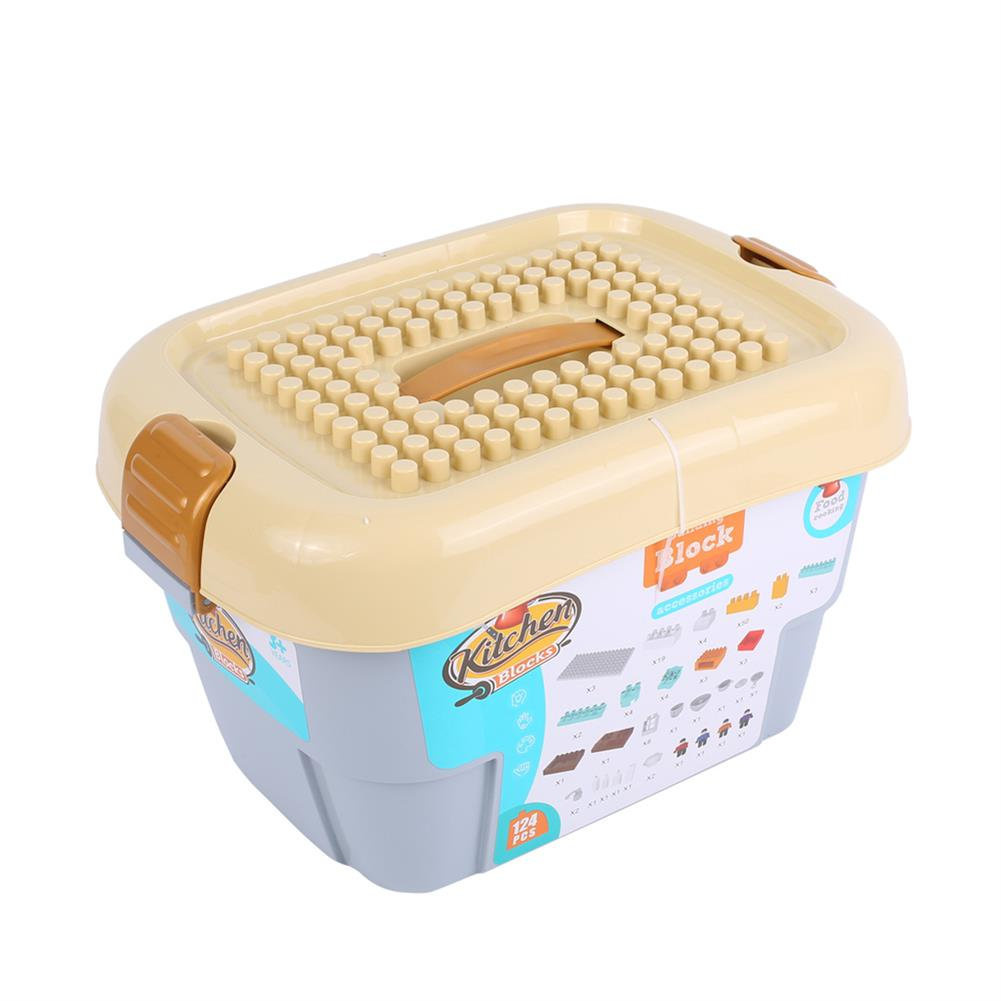 blocks-track-toys Goldkids HJ-35008A 124PCS Kitchen Series Rectangular Tote Bucket DIY Assembly Blocks Toys for Children Gift HOB1664716 2