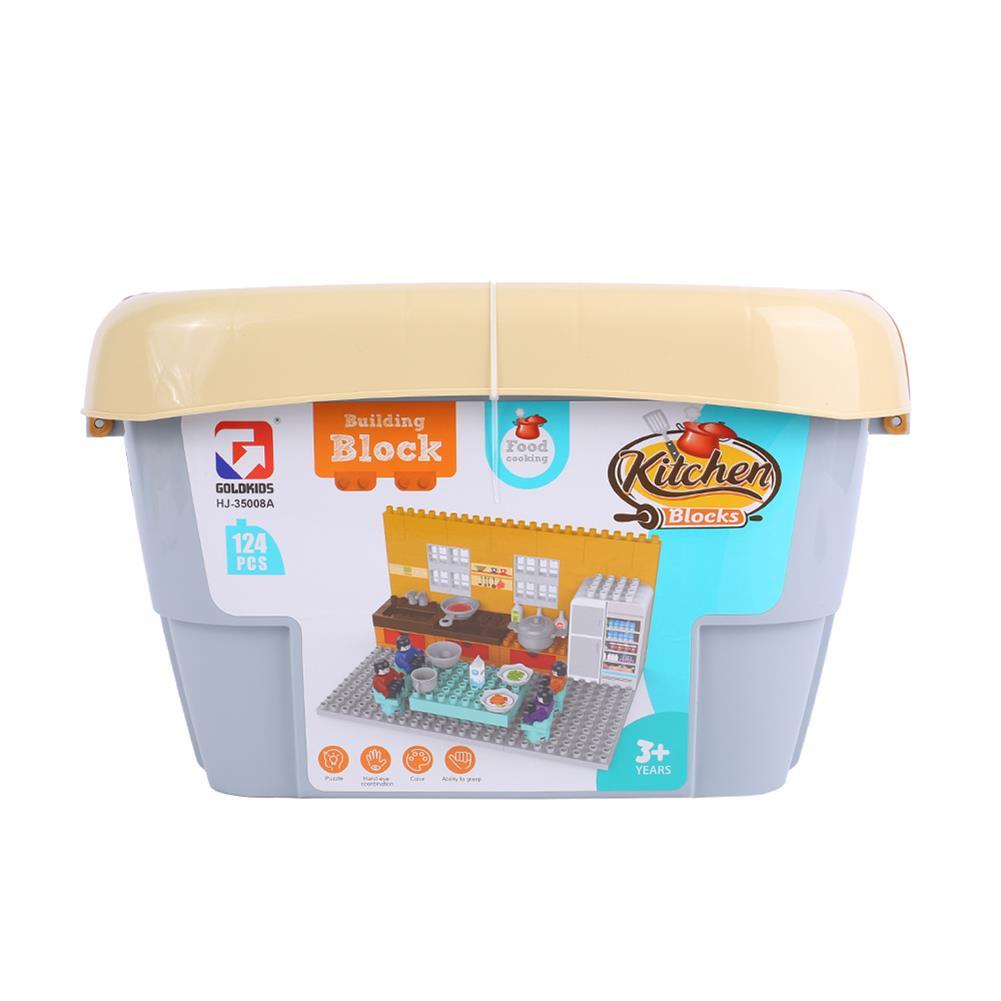 blocks-track-toys Goldkids HJ-35008A 124PCS Kitchen Series Rectangular Tote Bucket DIY Assembly Blocks Toys for Children Gift HOB1664716 3