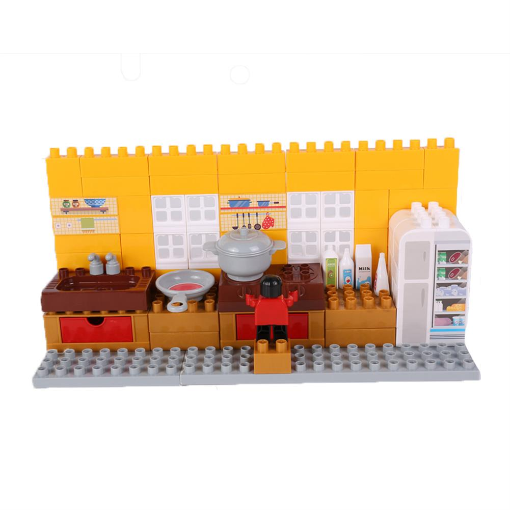 blocks-track-toys Goldkids HJ-35001B 95PCS Kitchen Series Color Box DIY Assembly Blocks Toys for Children Gift HOB1666850