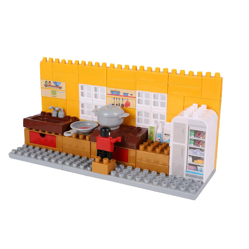 blocks-track-toys Goldkids HJ-35001B 95PCS Kitchen Series Color Box DIY Assembly Blocks Toys for Children Gift HOB1666850 1
