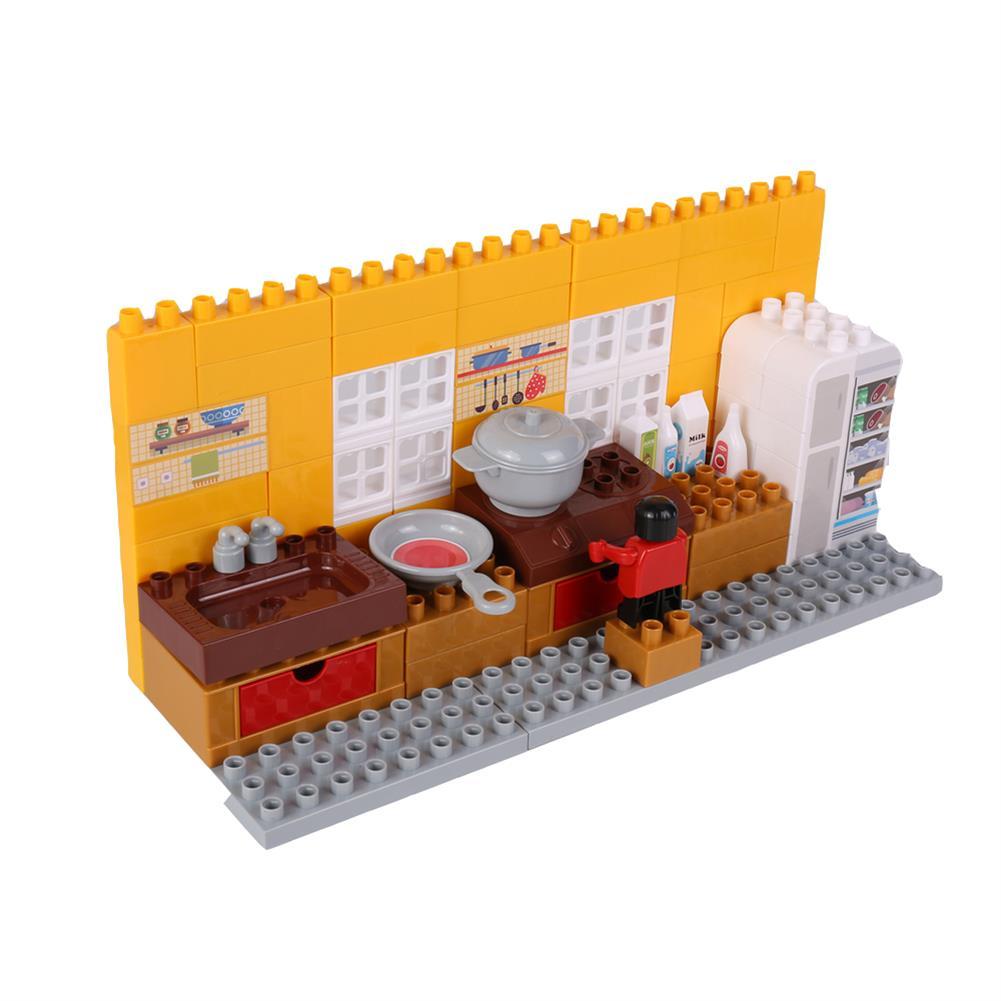 blocks-track-toys Goldkids HJ-35001B 95PCS Kitchen Series Color Box DIY Assembly Blocks Toys for Children Gift HOB1666850 2