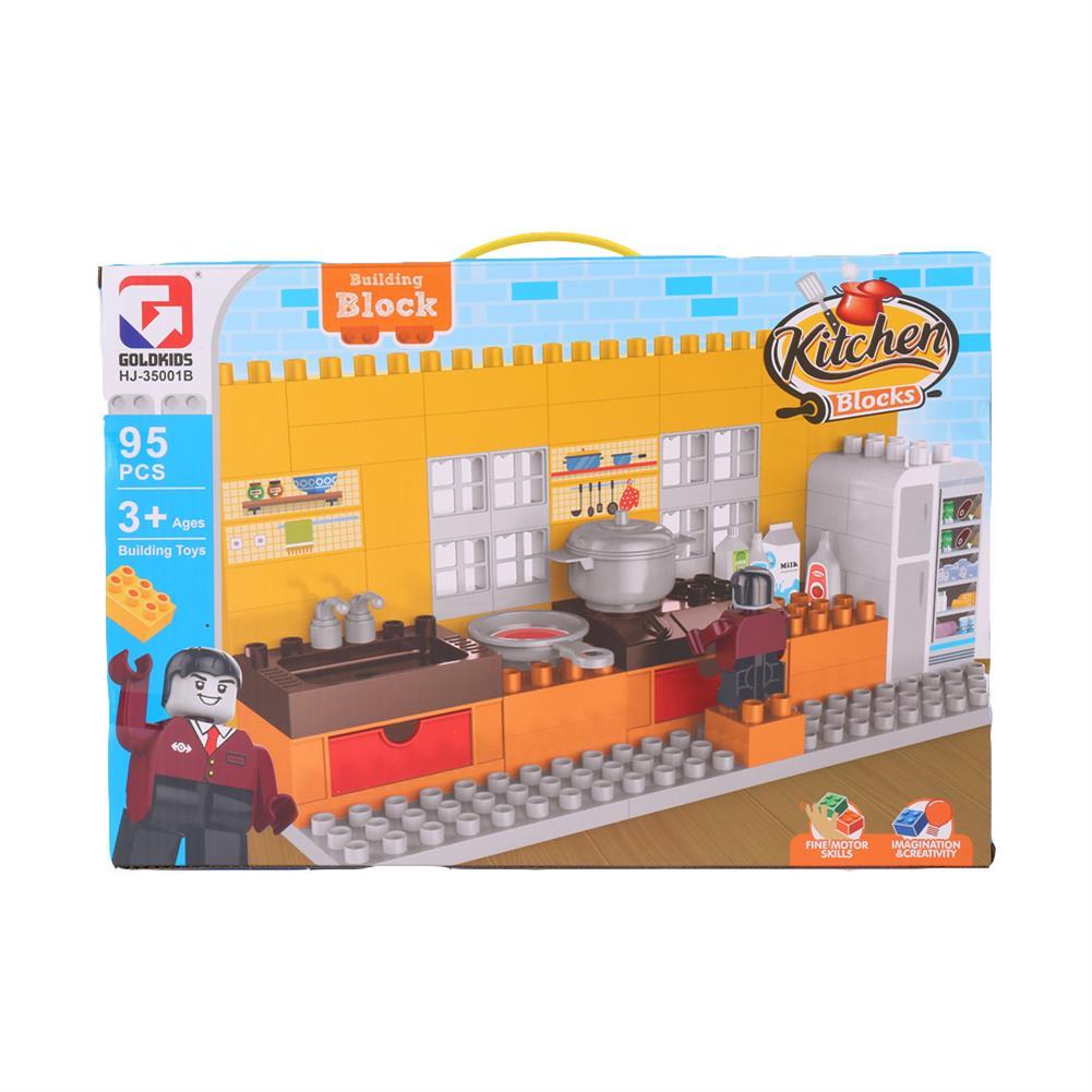 blocks-track-toys Goldkids HJ-35001B 95PCS Kitchen Series Color Box DIY Assembly Blocks Toys for Children Gift HOB1666850 3