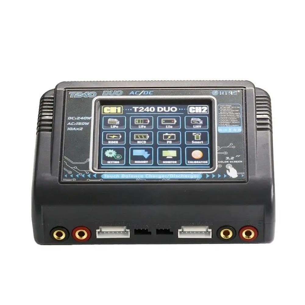 battery-charger HTRC T240 DUO AC 150W DC 240W 10A Touch Screen Dual Channel Battery Balance Charger Discharger HOB1669367