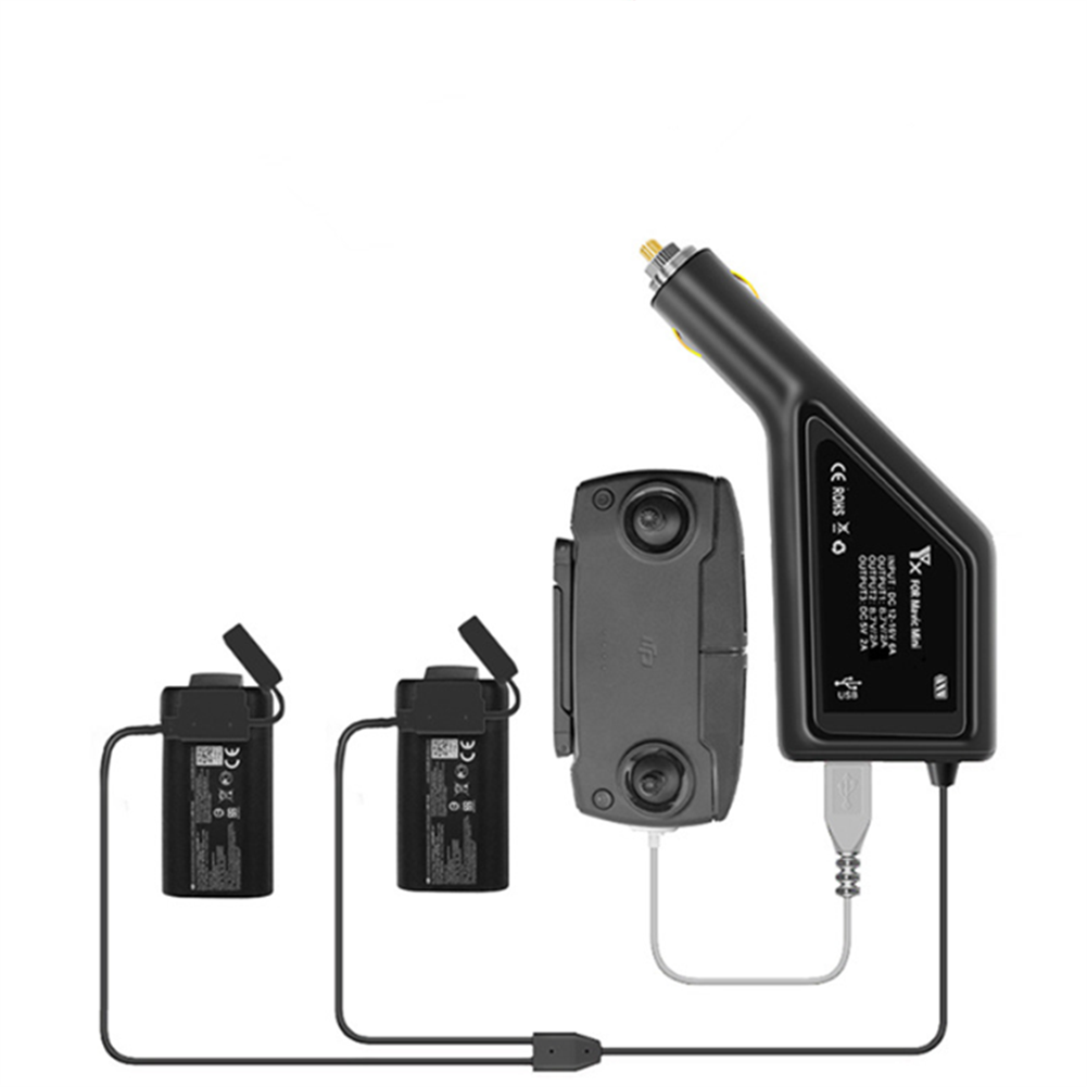 rc-quadcopter-parts YX 3 IN 1 JP Plug Dual Batteries Car Charger with USB Port for DJI Mavic Mini RC Quadcopter HOB1669458