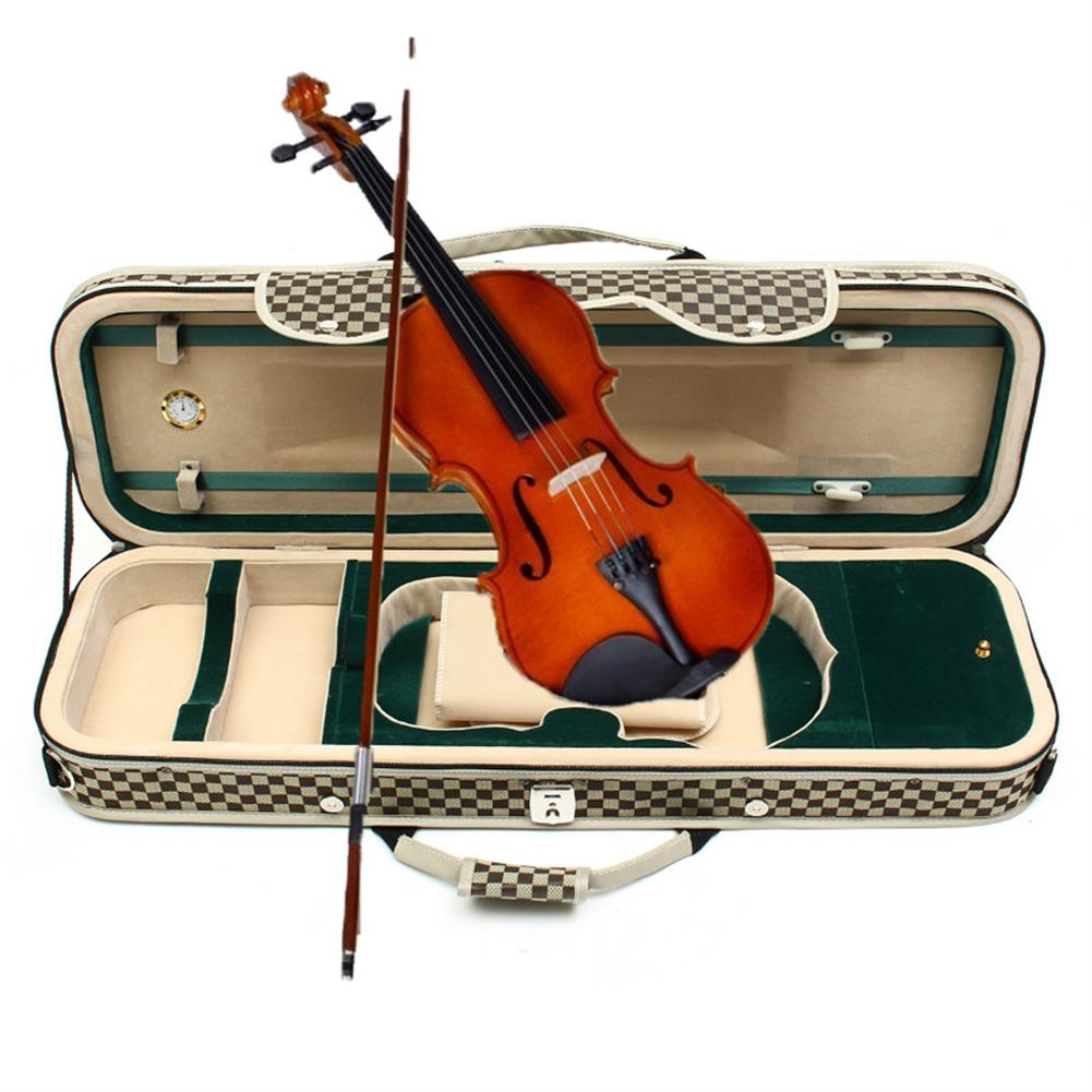 strings-accessories 4/4 Acoustic Violin Case Fiddle Strap Box with Hygrometer Oblong Carry Case Storage HOB1670284