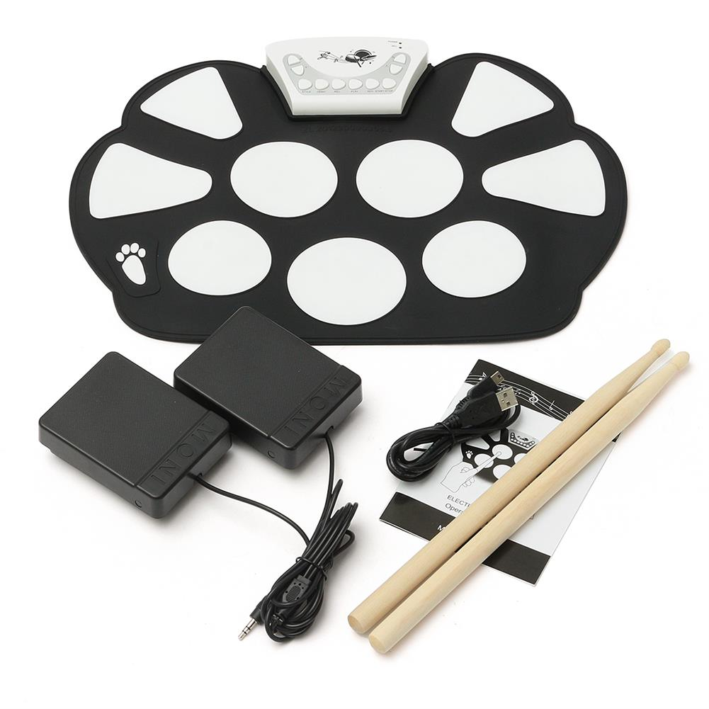 electronic-drums Foldable Roll Up USB Electronic Drum 9 Silicon Pad Kit Silicon w/ Stick Kid Gift HOB1670318