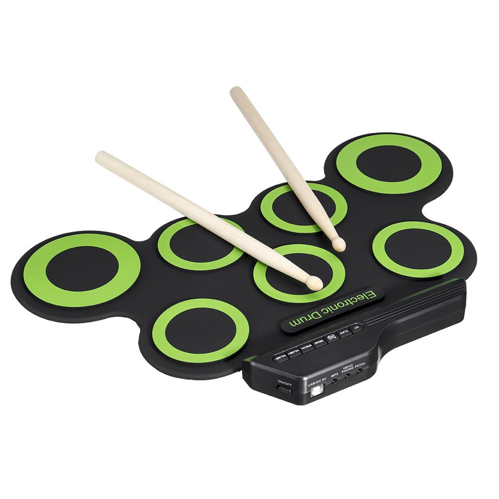 electronic-drums Green Electronic Drum Set Kit USB Power Audio Cable Portable Educational Pads HOB1674075