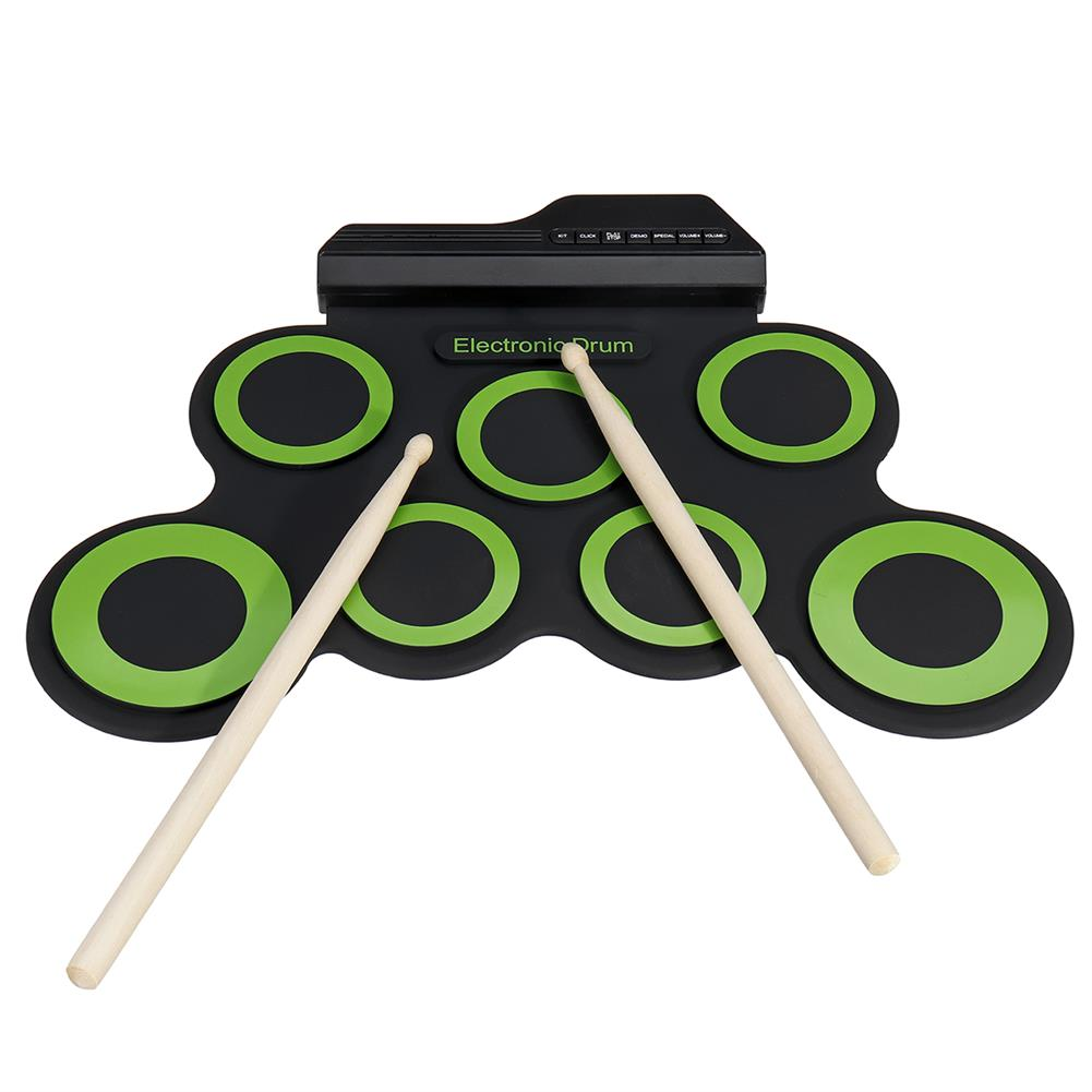 electronic-drums Green Electronic Drum Set Kit USB Power Audio Cable Portable Educational Pads HOB1674075 1