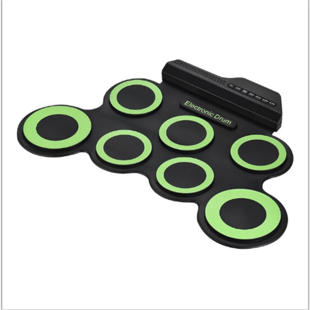electronic-drums Green Electronic Drum Set Kit USB Power Audio Cable Portable Educational Pads HOB1674075 2