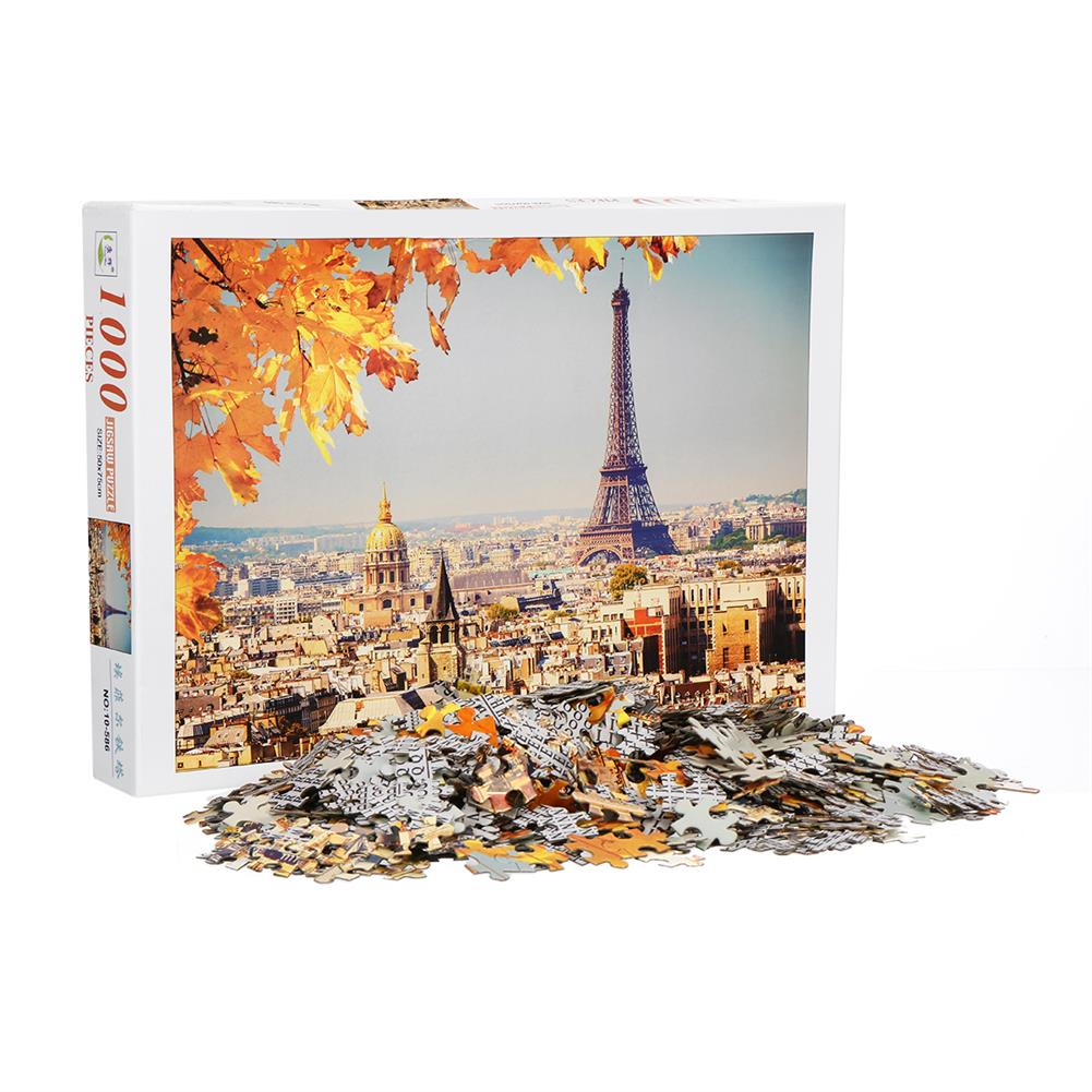 puzzle-game-toys 1000 Pieces Eiffel Tower Jigsaw Puzzle Toy DIY Assembly Paper Puzzle Building Landscape Toy HOB1674498 1