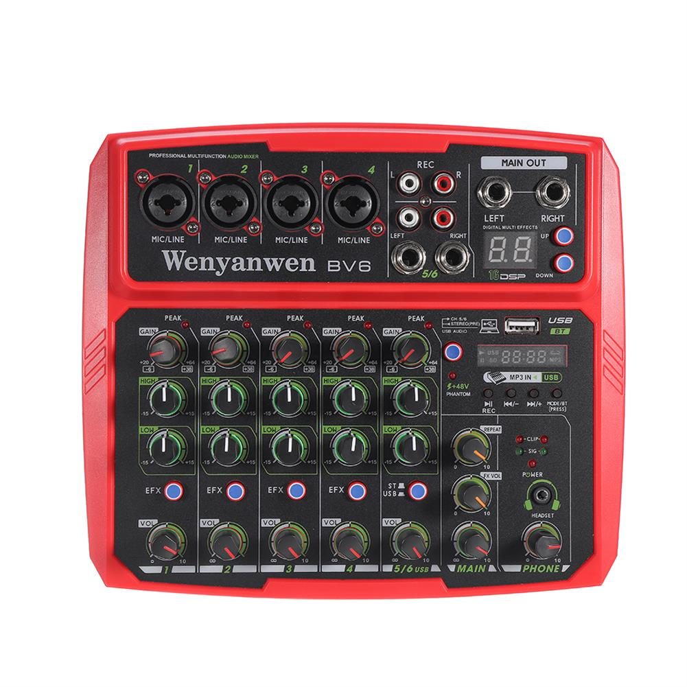 dj-mixers-equipment WENYANWEN Mini 4 Channel 16 DSP Effect USB Delay and Repeat Efferts Audio Mixer Console with Bluetooth HOB1675552