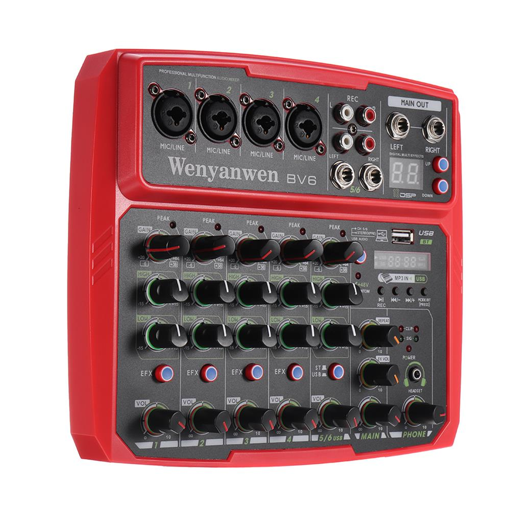 dj-mixers-equipment WENYANWEN Mini 4 Channel 16 DSP Effect USB Delay and Repeat Efferts Audio Mixer Console with Bluetooth HOB1675552 1
