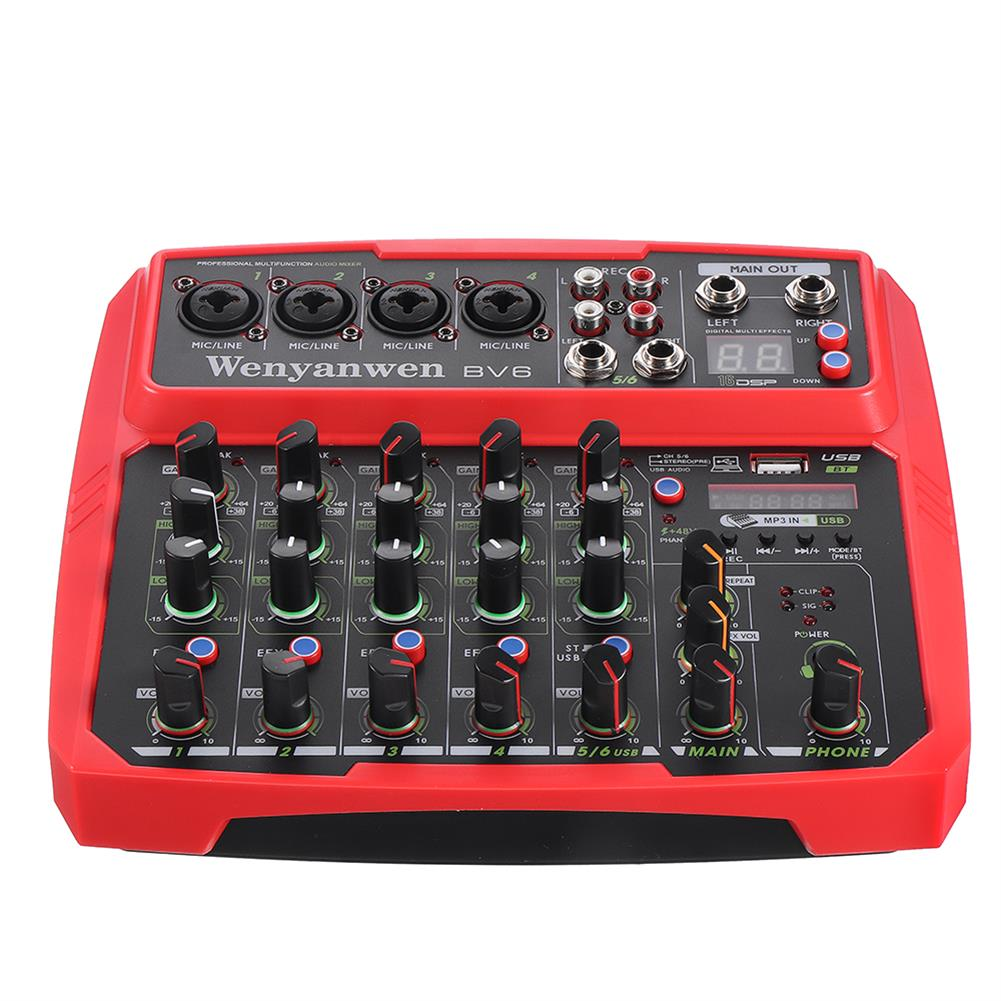 dj-mixers-equipment WENYANWEN Mini 4 Channel 16 DSP Effect USB Delay and Repeat Efferts Audio Mixer Console with Bluetooth HOB1675552 2