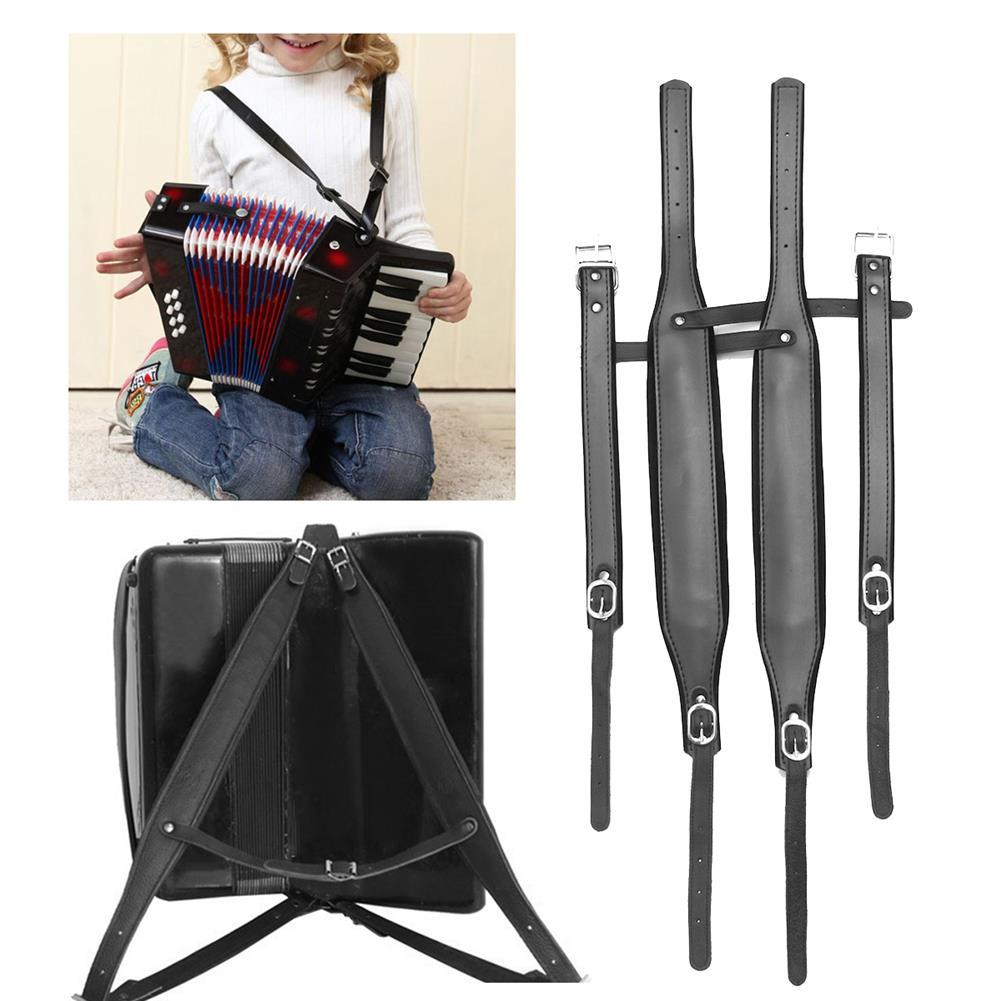 keyboard-accessories 4Pcs/set Adjustable Black Leather Shoulder Accordion Strap for 80/96/120 Bass HOB1676565 1
