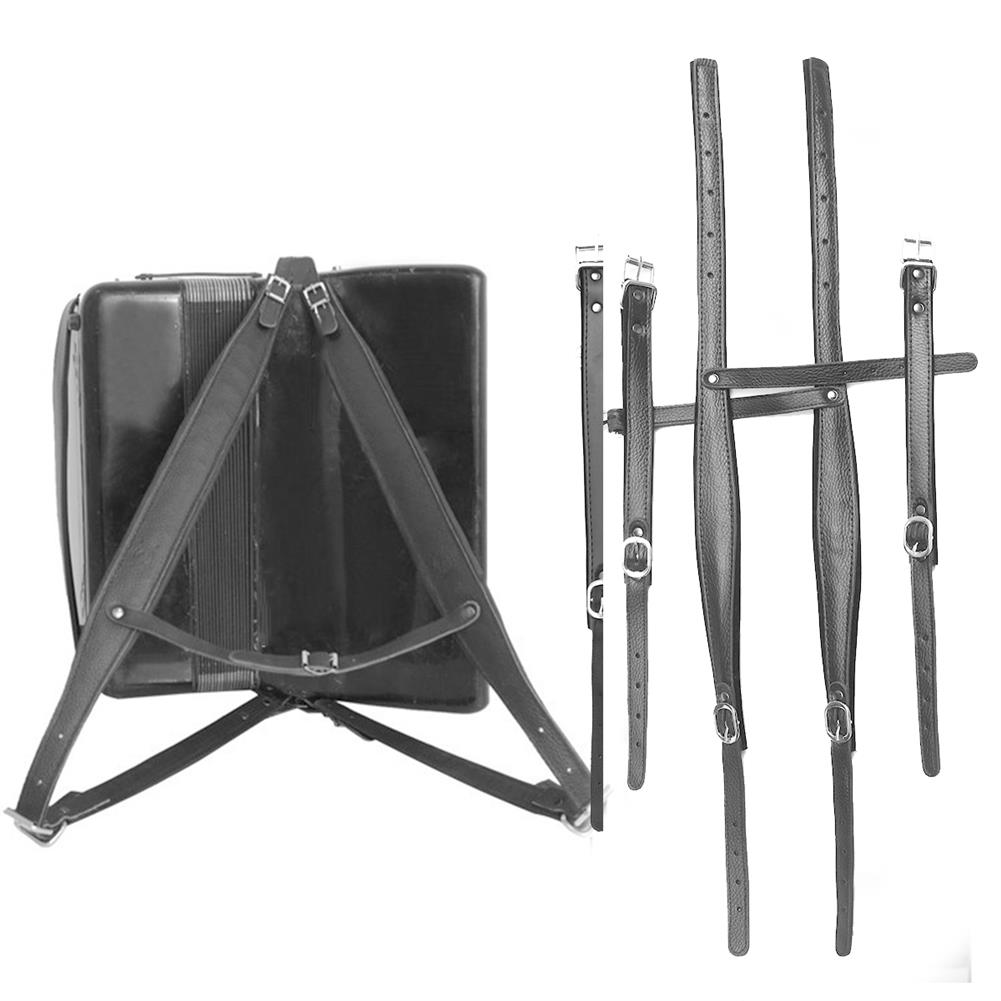keyboard-accessories 4Pcs/set Adjustable Black Leather Shoulder Accordion Strap for 80/96/120 Bass HOB1676565 3