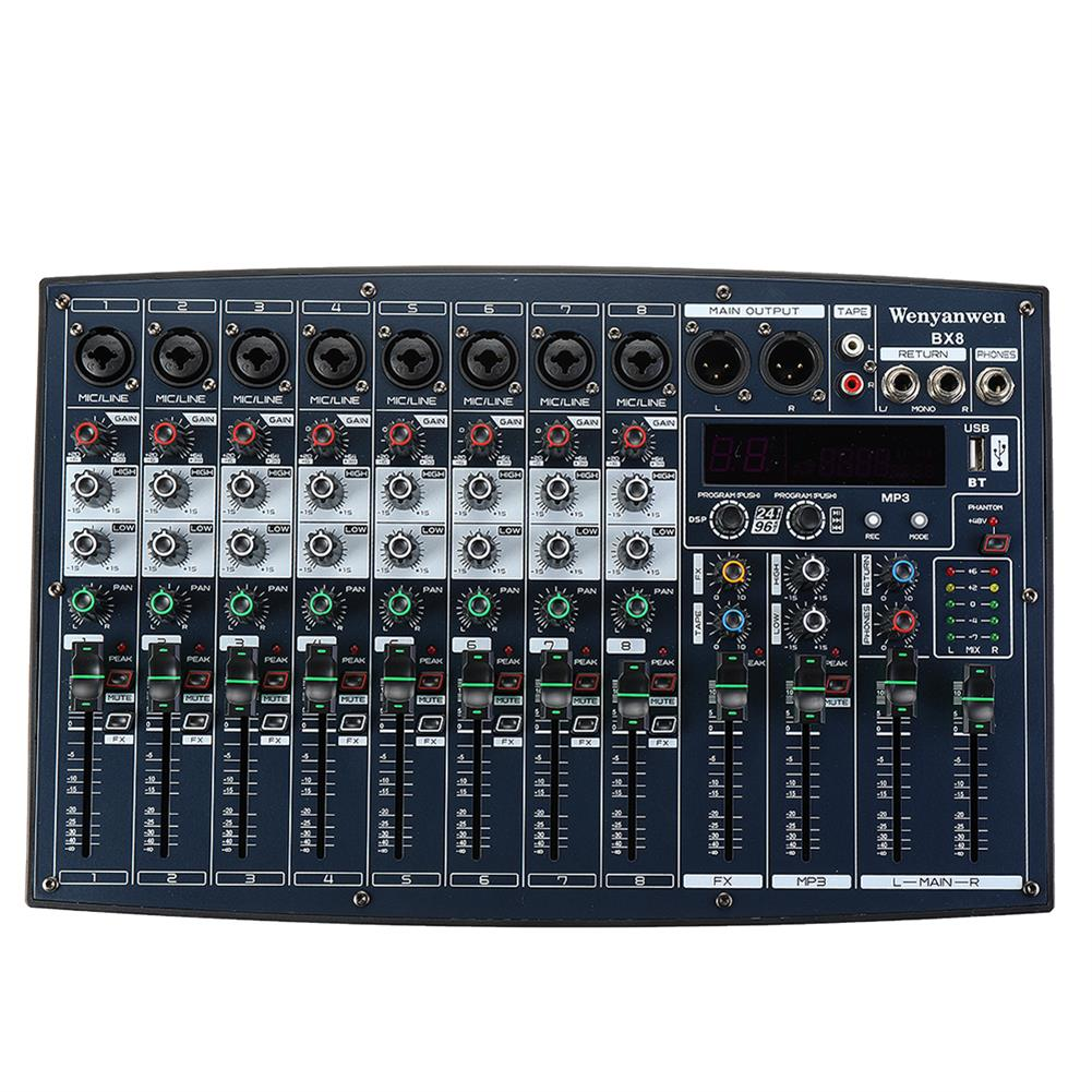 dj-mixers-equipment WENYANWEN BX6/BX8 6/8 Channel EQ 2 Bands 16 DSP Effects Audio Mixer Bluetooth Live Studio Audio Mixing Console HOB1677083