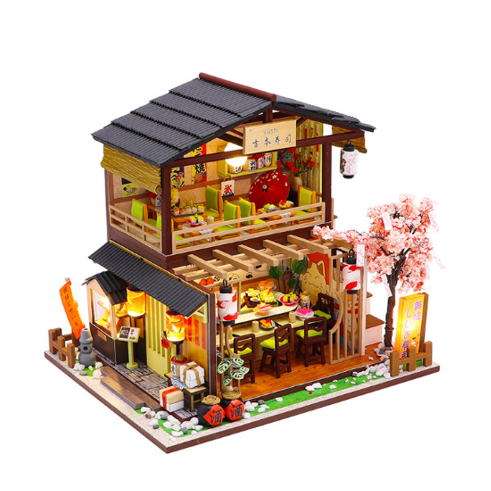 doll-house-miniature Homeda M2011 Japanese-style Sushi Restaurant DIY Doll House Assembly Cabin Creative Toy with Dust Cover indoor Toys HOB1678811