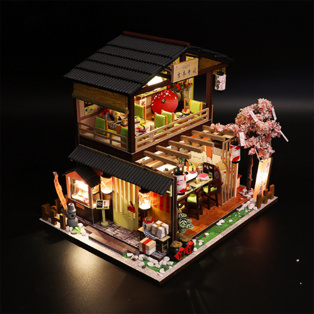 doll-house-miniature Homeda M2011 Japanese-style Sushi Restaurant DIY Doll House Assembly Cabin Creative Toy with Dust Cover indoor Toys HOB1678811 1