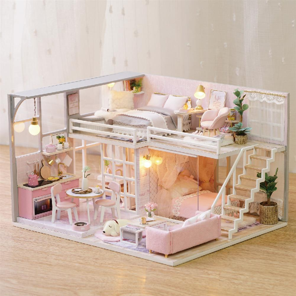 doll-house-miniature 3D Woodcraft DIY Assembly Creative Doll House Kit Decoration Toy with LED Light for Kids Gift HOB1680196