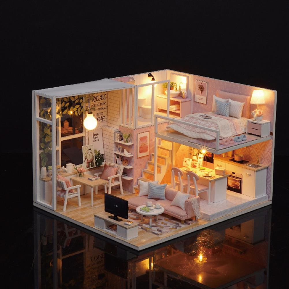 doll-house-miniature 3D Woodcraft DIY Assembly Creative Doll House Kit Decoration Toy with LED Light for Kids Gift HOB1680196 1