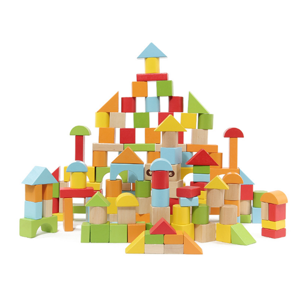 puzzle-game-toys 100 Particles Wooden Children's Building Blocks Wood Assembly Baby Educational indoor Toys HOB1681295