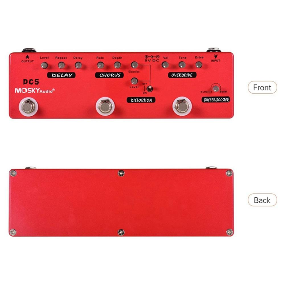 guitar-accessories MOSKY DC5 6-in-1 Guitar Effects Pedal Delay Chorus Distortion Overdrive Booster Buffer Full Metal Shell with True Bypass HOB1681529 3