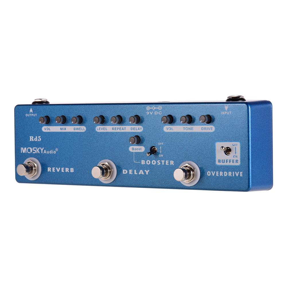 guitar-accessories MOSKY RD5 5-in-1 Guitar Effects Pedal Reverb + Delay + Booster + Overdrive + Buffer Full Metal Shell with True Bypass HOB1681533