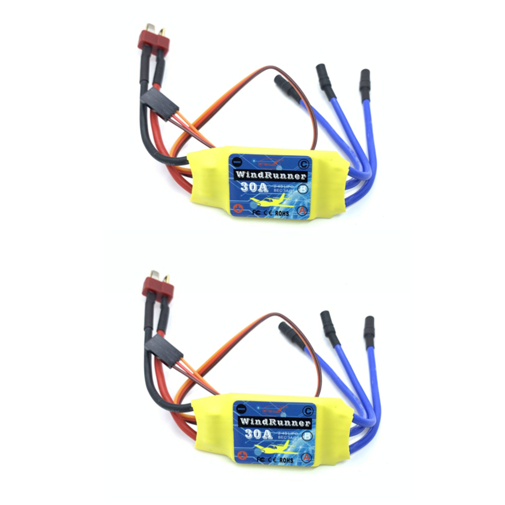 rc-airplane-parts 2PCS Brusheless ESC 30A Speed Control 2S 3S T-Plug JST for 2212 Brushless Motor KT SU27 RC Airplane FPV Racing Drone RC Car Boat HOB1681992