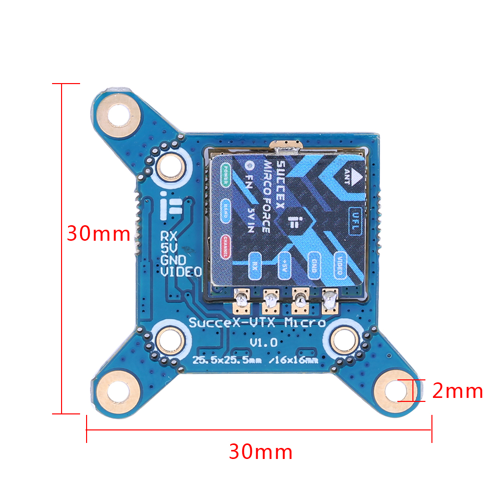 fpv-system iFlight SucceX Micro force VTX PIT/25/100/200mW/300mW Adjustable 5.8Ghz 40CH Mini FPV Transmitter 20x20mm/16mm/25mm for Green Hornet RC Racing Drone HOB1682158 3