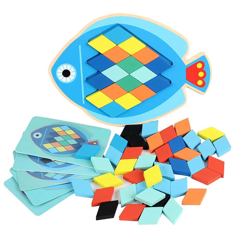 puzzle-game-toys Wood DIY Assembly Jigsaw Puzzle Toy Colors Shapes Cartoon Fish Owl Matching Cards Toy for Children Learning HOB1682195