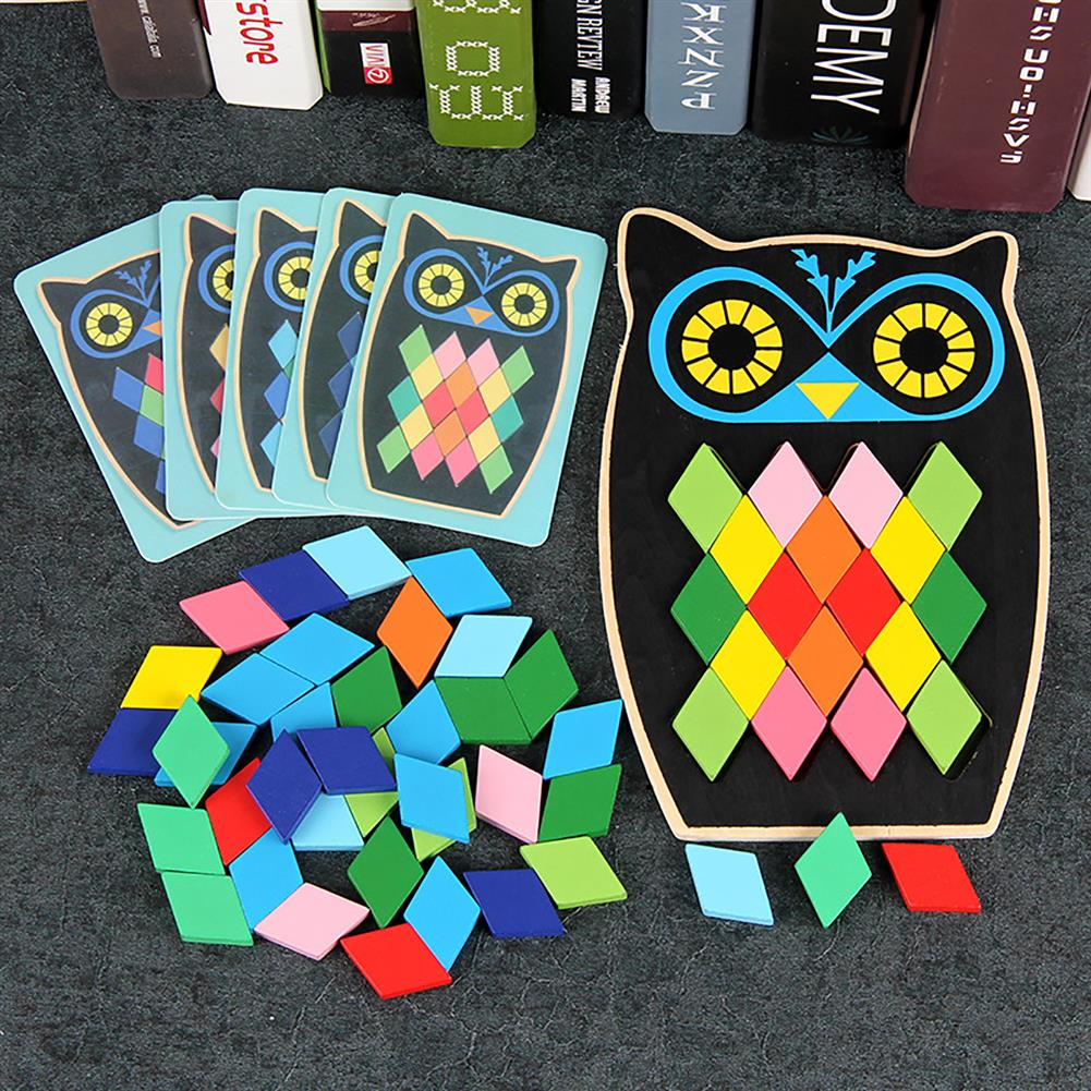 puzzle-game-toys Wood DIY Assembly Jigsaw Puzzle Toy Colors Shapes Cartoon Fish Owl Matching Cards Toy for Children Learning HOB1682195 2