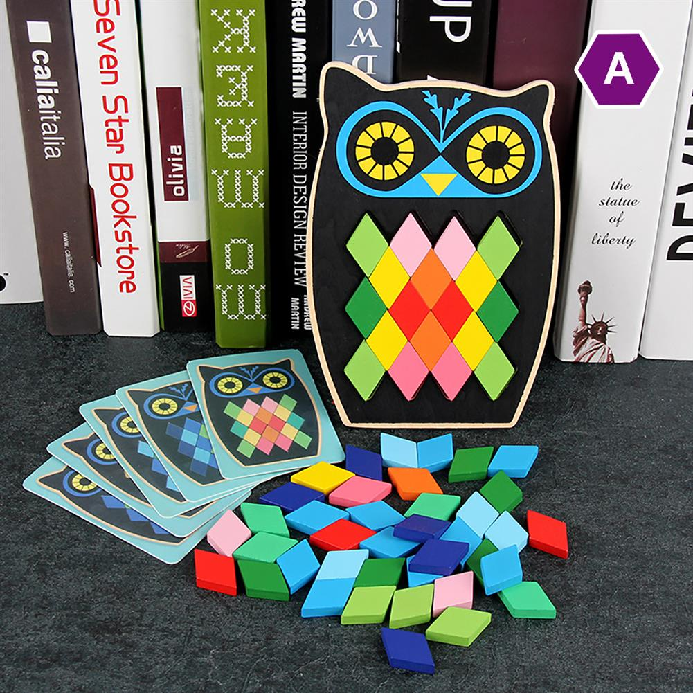 puzzle-game-toys Wood DIY Assembly Jigsaw Puzzle Toy Colors Shapes Cartoon Fish Owl Matching Cards Toy for Children Learning HOB1682195 3