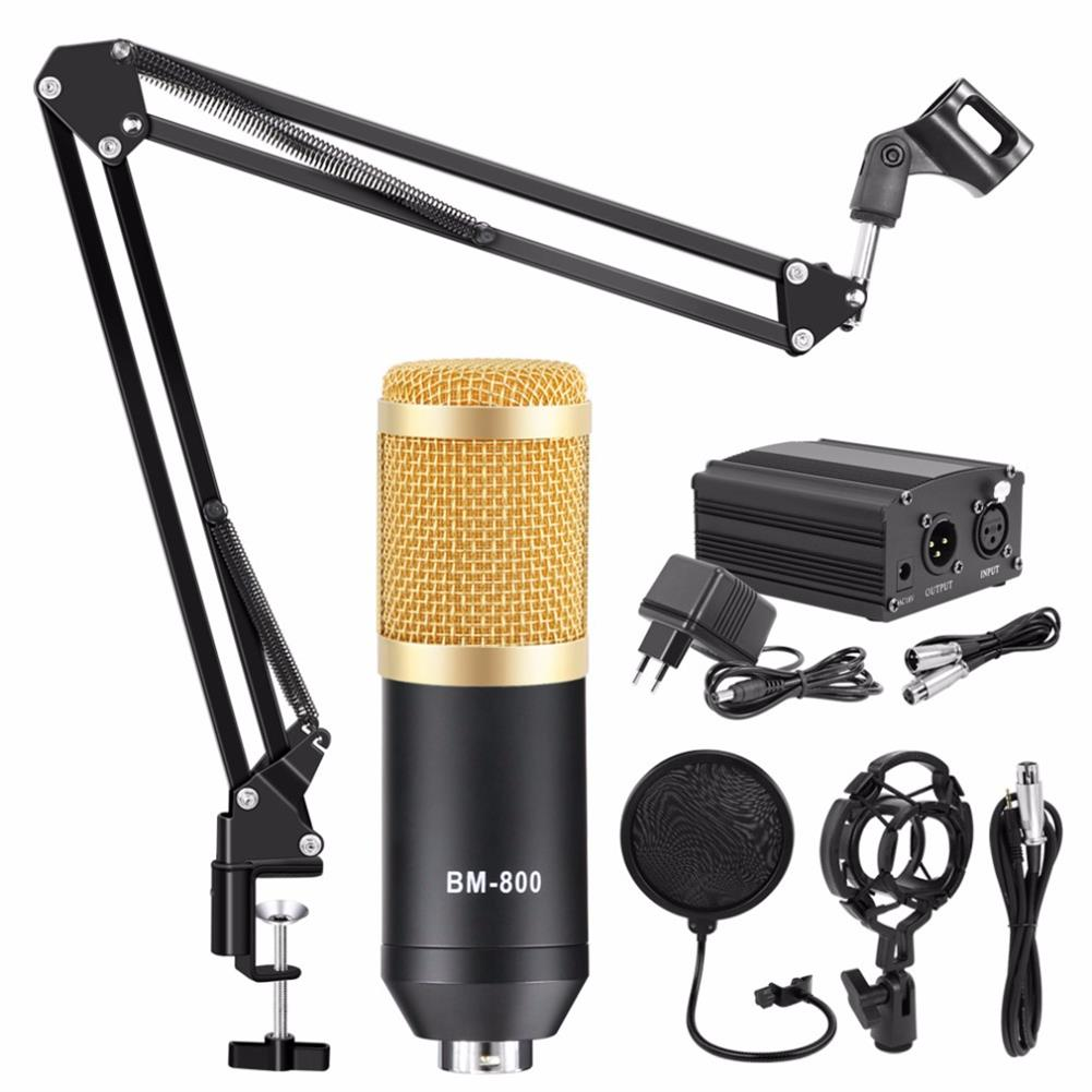 microphones-karaoke-equipment BM800 Microphone Kit Condenser Sound Recording Microphone with Phantom Power for Radio Braodcasting Singing Recording KTV Karaoke Mic HOB1683618