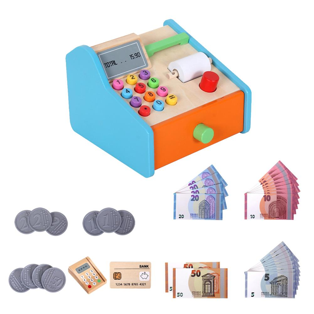 puzzle-game-toys Wooden Cash Register Shop Grocery Checkout Play Game Learn Education Toys for Kids Perfect Gift HOB1685525