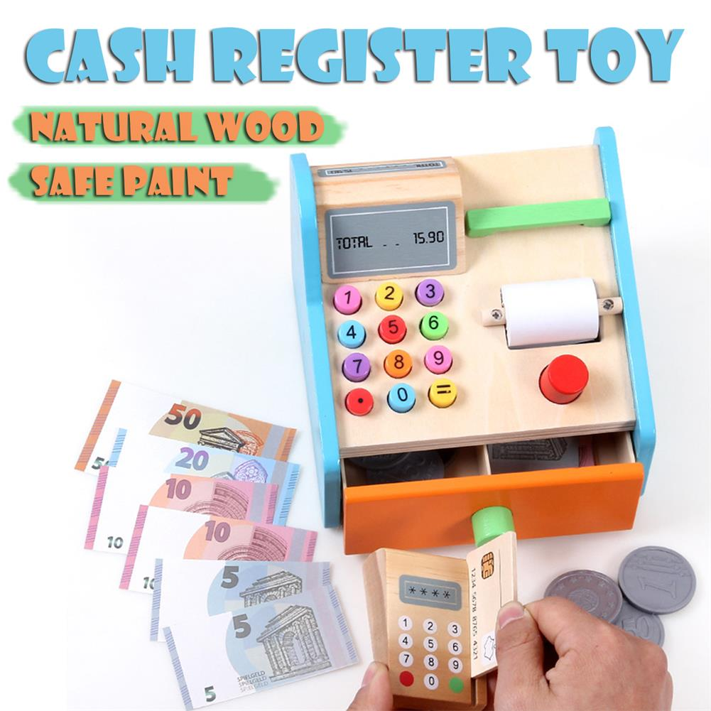 puzzle-game-toys Wooden Cash Register Shop Grocery Checkout Play Game Learn Education Toys for Kids Perfect Gift HOB1685525 1