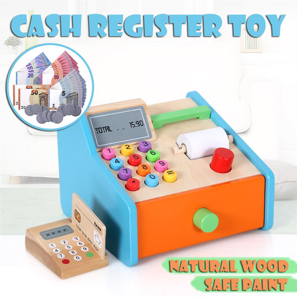 puzzle-game-toys Wooden Cash Register Shop Grocery Checkout Play Game Learn Education Toys for Kids Perfect Gift HOB1685525 2
