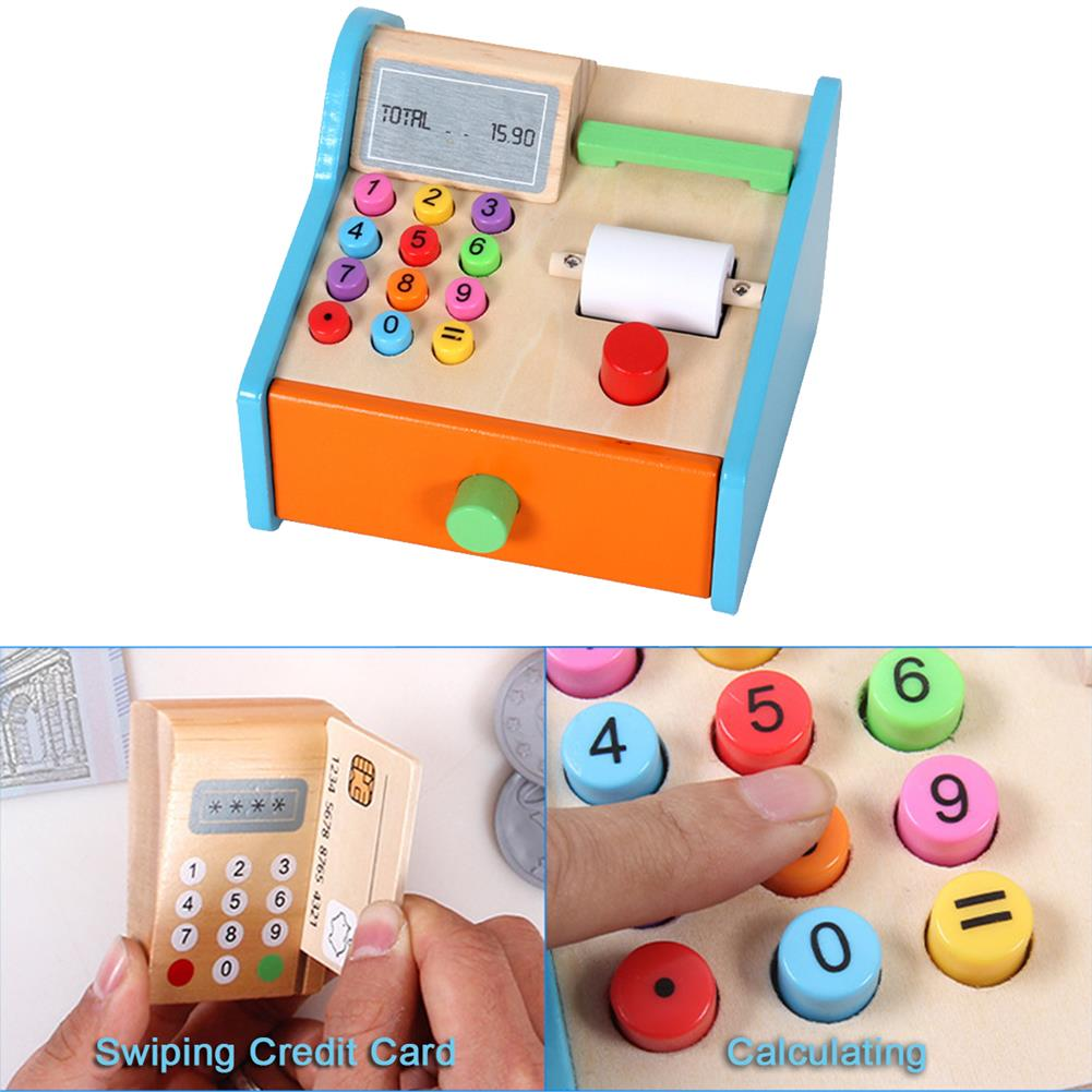 puzzle-game-toys Wooden Cash Register Shop Grocery Checkout Play Game Learn Education Toys for Kids Perfect Gift HOB1685525 3