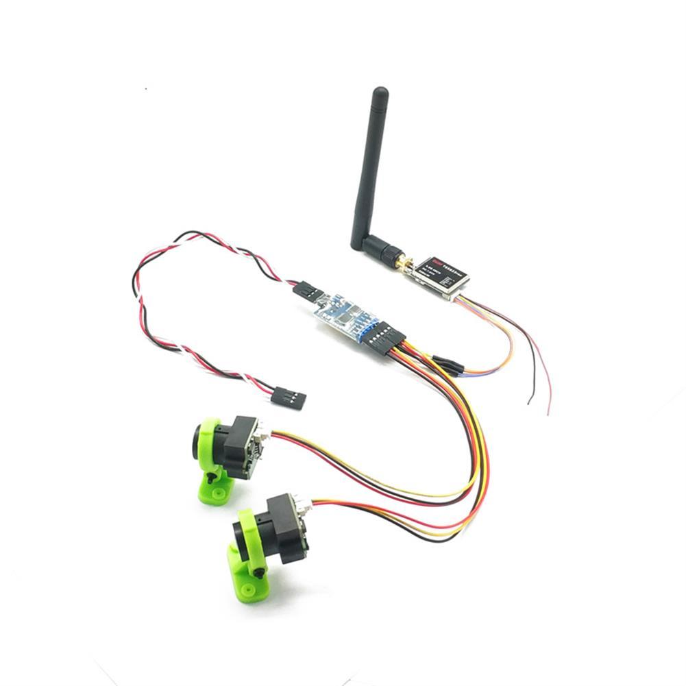 fpv-system FPV Dual Camera System 1000TVL CMOS Mini 2 Cameras + 5.8Ghz 600mW 40CH VTX + 3CH Switch Support PMW for RC Racing Drone HOB1686077 1